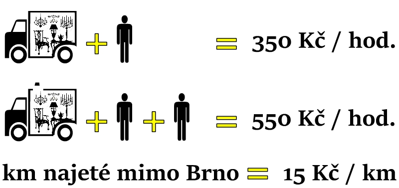 auto s řidičem = 350 Kč/hod., auto s řidičem a závozníkem = 550 Kč/hod., kilometry najeté mimo Brno